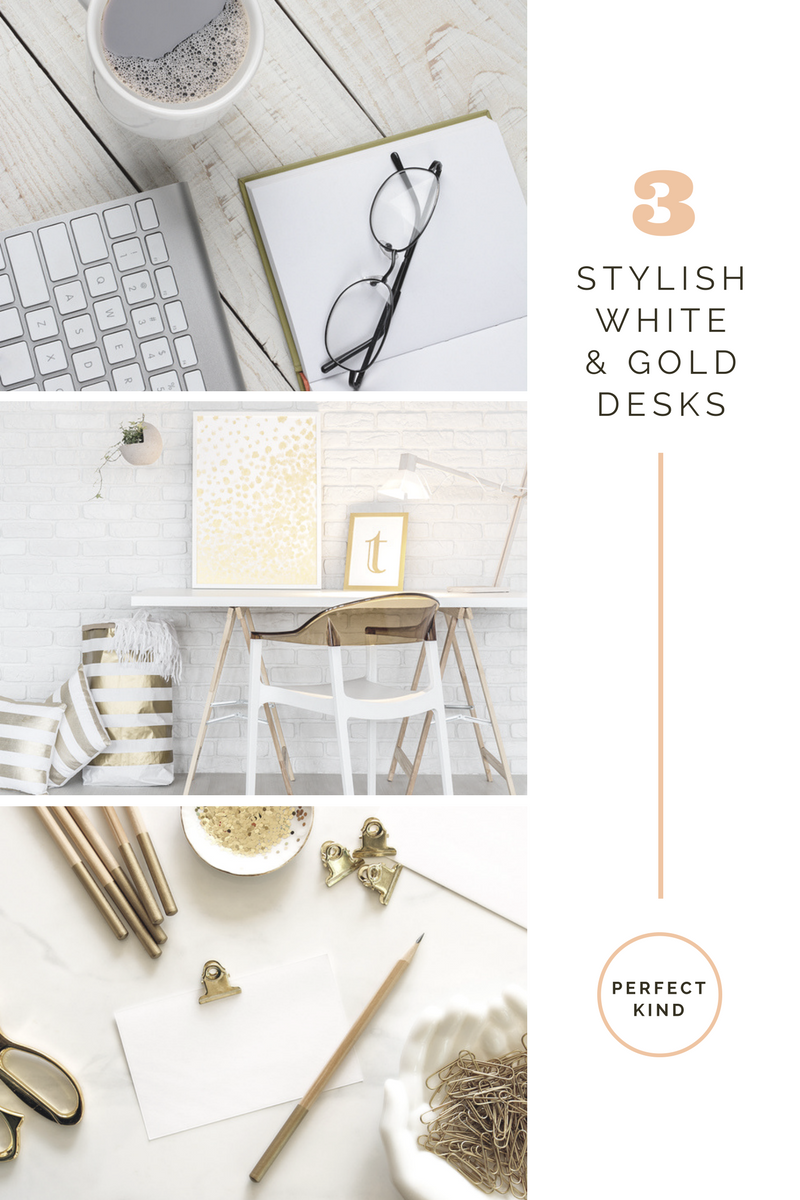 white and gold desks for the home office