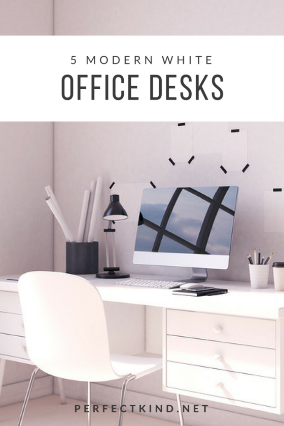 Modern White Office Desk With Drawers